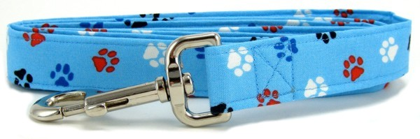 Aqua Red, White and Blue Paws Dog Leash