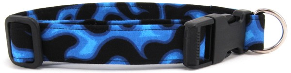Blue Flames Dog Collar