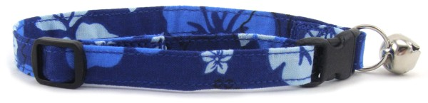 Blue Hibiscus Cat Collar