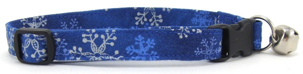 Blue and Silver Snowflakes Cat Collar