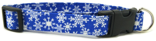 Blue SnowFlakes Dog Collar
