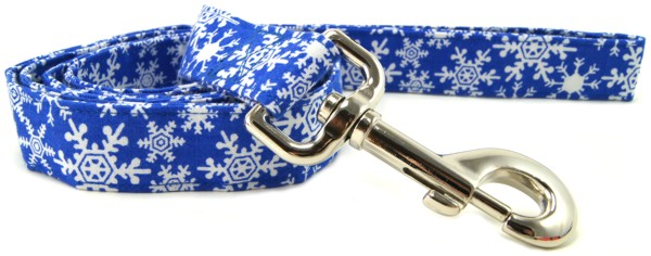 Blue Snowflakes Dog Leash