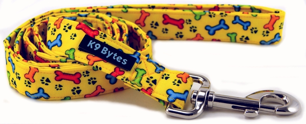 Bright Yellow Tossed Bones Dog Leash