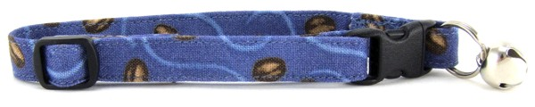 Coffee Beans on Blue Cat Collar