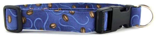 Coffee Beans on Blue Dog Collar