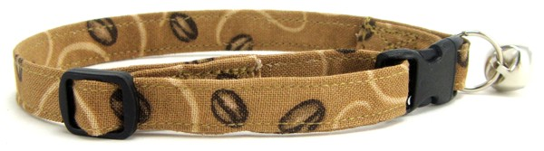 Coffee Beans on tan Cat Collar