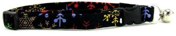 Colorful snowflakes on black cat collar