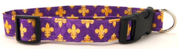 Purple Fleur de Lis Dog Collar