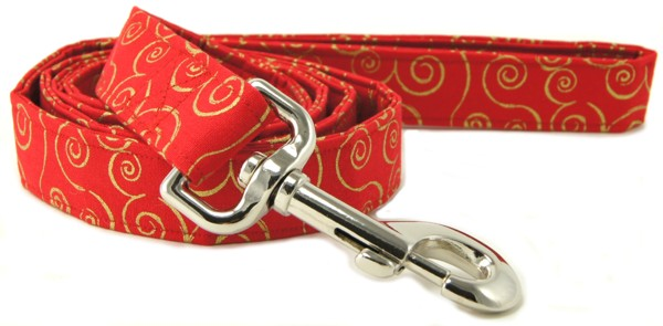 Red Metallic Gold Scrolls Dog Leash