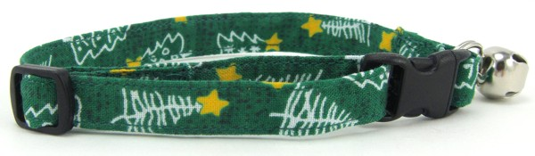 Green Christmas Trees Cat Collar