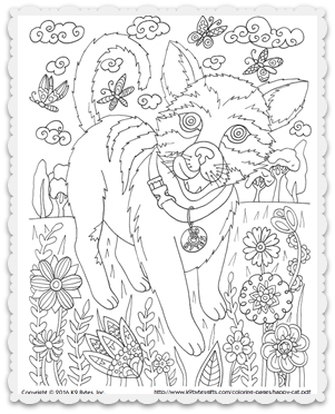 Free Coloring Page Happy Cat