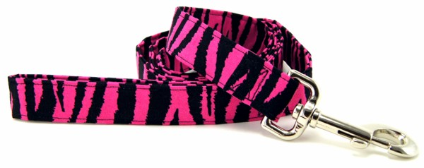 Hot Pink Zebra Stripes Dog Leash