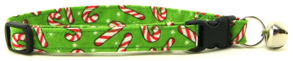Light Green Candy Canes Cat Collar
