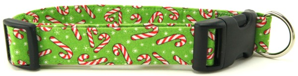 Light Green Candy Canes Dog Collar