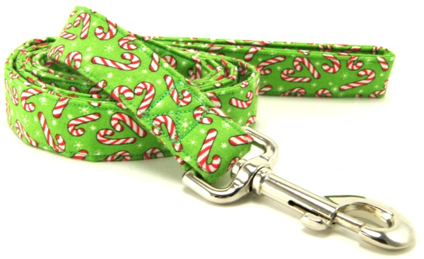 Light Green Candy Canes Dog Leash