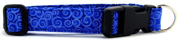 Metallic Blue Swirls Dog Collar