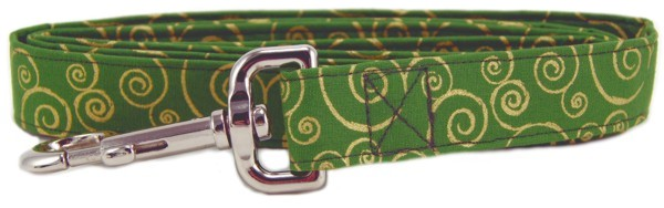 Green Metallic Gold Scrolls Dog Leash