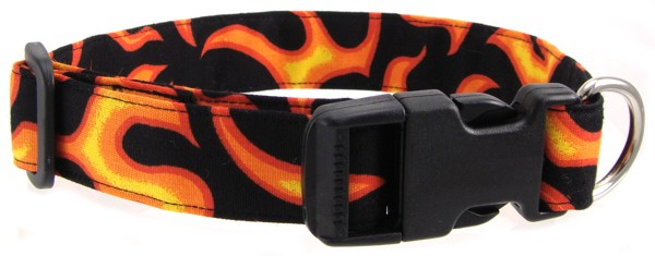 Orange Flames Dog Collar