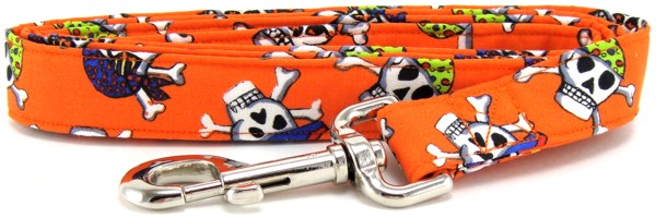 Orange Pirates Dog Leash