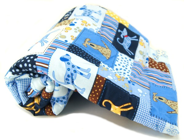 Blue Patchwork Dog Pet Blanket