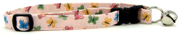 Pastel Pink Butterflies Cat Collar