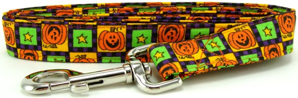 Pumpkin Squares Dog Leash