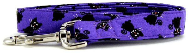 Purple Black Cats Dog Leash