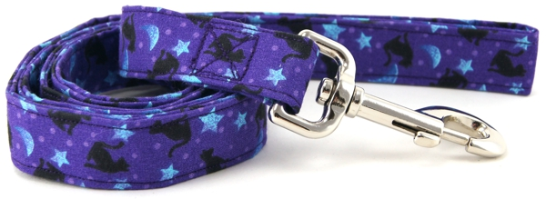 Purple Cats and Stars Dog Leash
