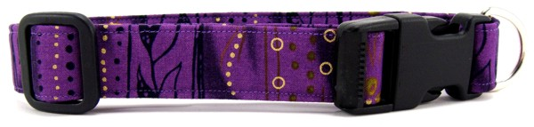 Purple Stripe Batik Dog Collar