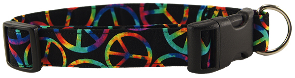 Rainbow Peace Signs Dog Collar