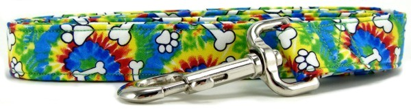 Rainbow Tie Dye Bones and Paws Dog Leash