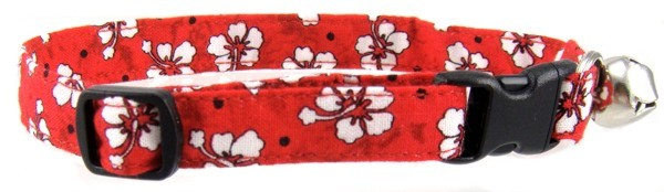 Red Hawaiian Flowers Cat Collar