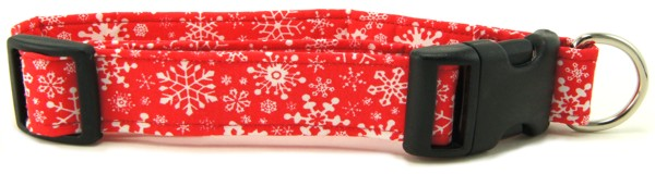 Red Snowflakes Dog Collar
