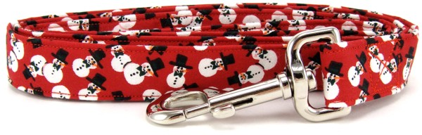 Red Tossed Snowmen Dog Leash