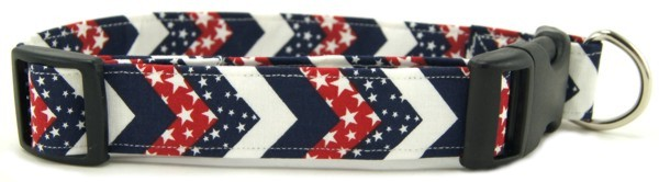 Red, White & Blue Chevrons Dog Collar