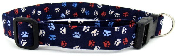 Red, White and Blue Paws Dog Collar
