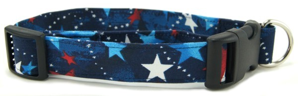 Red White & Blue Shooting Stars Dog Collar