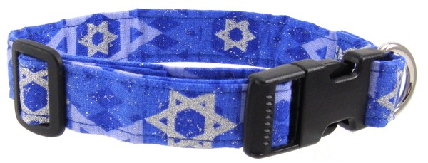 Silver and Blue Star of David Dog Collar