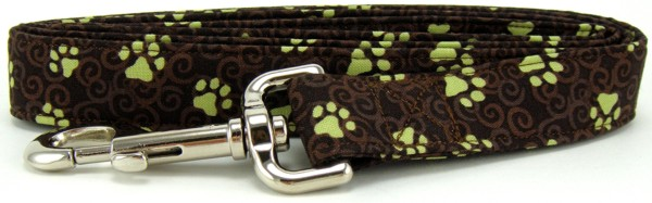 Brown Swirled Paws Dog Leash