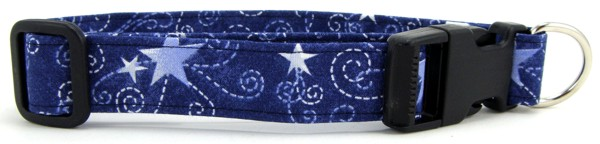 Blue Swirled Stars Dog Collar