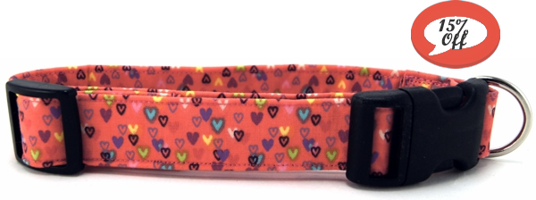 Tiny Colorful Hearts Dog Collar
