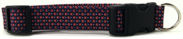 Tiny Red Stars on Navy Hearts Dog Collar
