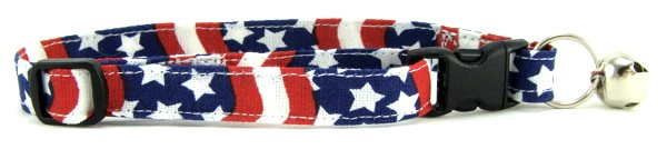 Wavy Red White and Blue Cat Collar