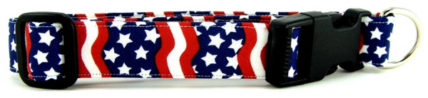 Wavy Red White & Blue Dog Collar