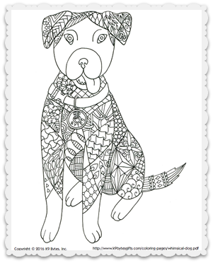 Free Coloring Page Whimsical Dog