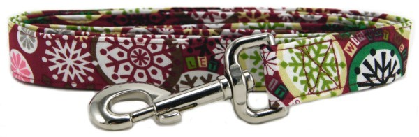 Winter Wonderland snowflakes on burgundy Dog Leash
