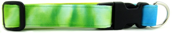 Yellow, Blue & Green Tie Dye Dog Collar