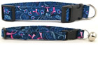 Blue Paisley Pink Ribbon Collars